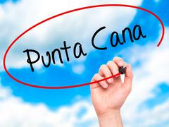 Man Hand writing Punta Cana with black marker on visual screen. - stock illustration