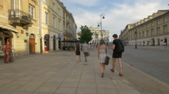 Walking on Krakowskie Przedmiescie street and heading to Staszic Palace, Warsaw Stock Footage
