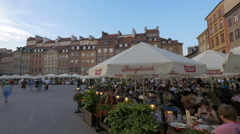 Beautiful restaurants in Old Town Market Place in the afternoon, Warsaw Stock Footage