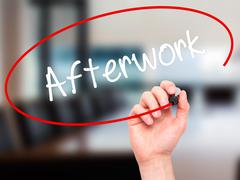 Man Hand writing Afterwork with black marker on visual screen. Stock Illustration
