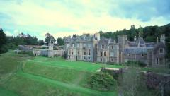 Aerial flight over Abbotsford House, Scottish Borders - stock footage