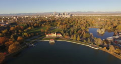 City Park Denver Aerial Shot Stock Footage
