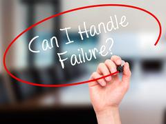 Man Hand writing Can I Handle Failure? with black marker on visual screen. - stock illustration