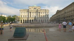 Water vapour machine placed in front of the Nicolaus Copernicus monument, Warsaw Stock Footage