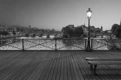 The 'Pont des Arts' in B&W - stock photo