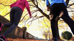 Couple jogging in the city park back low angle, super slow motion Stock Footage