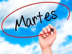 Man Hand writing Martes (Tuesday in Spanish) with black marker on visual screen. Stock Illustration
