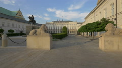 View of the Presidential Palace and the Monument to Jozef Poniatowski, Warsaw Stock Footage