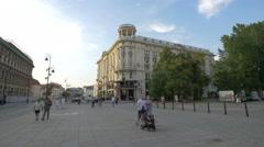 Hotel Bristol seen from Krakowskie Przedmiescie street in Warsaw Stock Footage