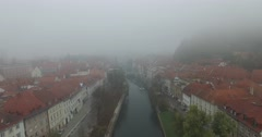 Aerial view of Ljubljana Stock Footage
