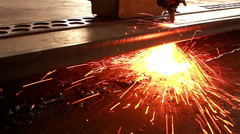 Sparkles, Fire gas cutting slab, Industry steel background. - stock footage