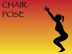 Yoga Woman Chair Pose - stock illustration