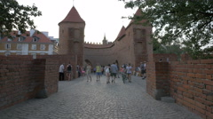 Semi circle fortified medieval outpost at Warsaw Barbican in Warsaw - stock footage