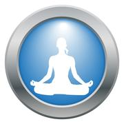 Yoga Lotus Pose Blue Icon - stock illustration