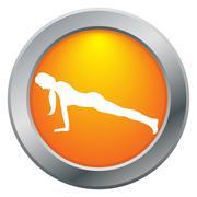 Yoga Plank Pose Orange Icon Stock Illustration