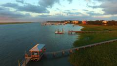 Sunset Marsh Docks Stock Footage