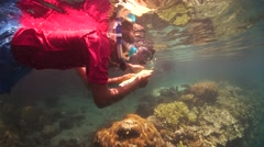 Kids Snorkelling and identifying fish and coral Stock Footage