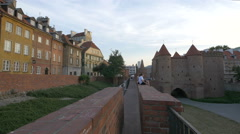 View of the Warsaw Barbican and the defense walls, Warsaw Stock Footage