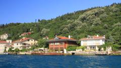 Seaside cottages and Vanikoy Mosque. Kandilli region in Istanbul, Turkey Stock Footage