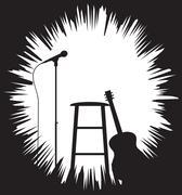 Grunged Guitarist Set Up Silhouette - stock illustration