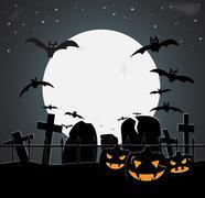 Halloween Graveyard - stock illustration