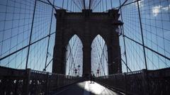 Brooklyn Bridge Tower on the wooden walkway Stock Footage