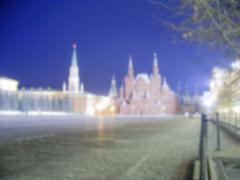 Defocused Background of the Red Square, Moscow, Russia. Intentionally blurred - stock photo