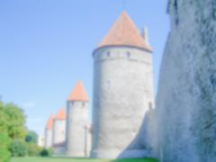 Defocused Background with the city walls of Tallin, Estonia. Intentionally bl - stock photo