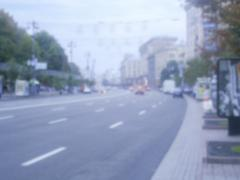Defocused background of Khreshchatyk street in Kiev, Ukraine. - stock photo