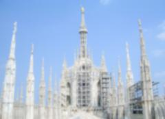 Defocused Background with the roof of Milan Gothic Cathedral. - stock photo