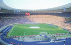 Defocused Background of Football Stadium. Intentionally blurred Stock Photos