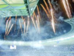 Defocused Background of Victory Celebration at the Stadium - stock photo