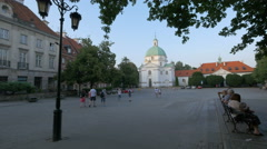 View of St. Kazimierz Church in New Town Market, Warsaw Stock Footage
