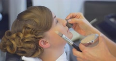 Stock Video Footage of Stylist is Putting a Concealer Making a Makeup Client Woman Model With New