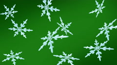 snowflakes christmas background green - stock footage