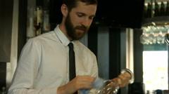 Classy waiter polishing wine glass Stock Footage