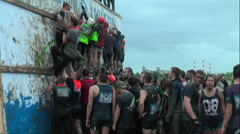 Team storms big wall in extrim race. Tyumen.Russia Stock Footage