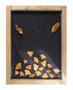 Fall composition blackboard autumn tree leaf retro - stock photo