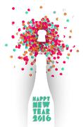 Happy new year 2016 confetti champagne party color Piirros