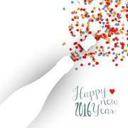 Stock Illustration of Happy new year 2016 confetti celebration champagne
