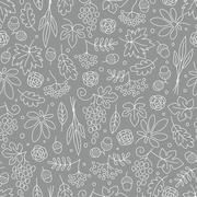 Stock Illustration of Seamless pattern with grapes, acorns, leaves and flowers. Beautiful background