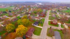 Autumn aerial view of small town America neighborhood. Stock Footage