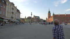 Sunny day in Castle Square, Warsaw Stock Footage