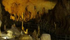 Stalactite and Stalagmite formation in the cave Stock Footage