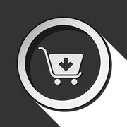 icon - shopping cart add with shadow - stock illustration