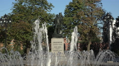 Statue of Jean Vauquelin and fountain, Montreal, Canada Stock Footage