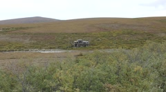 Old Abandoned Gold Mining Dredge near Nome Alaska in Tundra Stock Footage