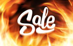 Sale inscription in fire flames. Vector banner - stock illustration