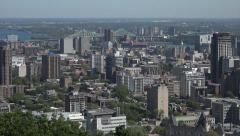 Tilt down to Montreal skyline buildings and city, Canada Stock Footage