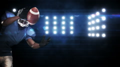 American football player against flashing lights Stock Footage